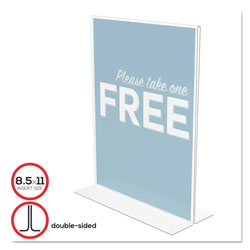 Deflecto Stand Up Double Sided Plastic Sign Holder, 8 1/2w x 11h, Clear
