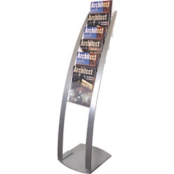 "Deflecto Floor Stand, 6 Compartments, 13"" x 16-1/2"" x 49"", Silver"