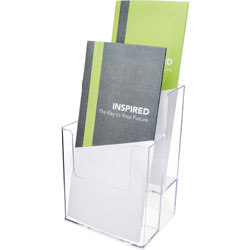Deflecto Extra Deep Flat Back Multi Compartment Docuholder, 4-1/2w x 3-3/4d x 7h, Clear