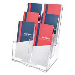 "Deflecto Three Tier, Multi Pocket, Multi Compartment Docuholder, 9"" W x 7-1/2"" D x 13-3/4"" H, Clear"