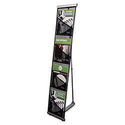Deflecto Mesh Floor Stand, 4 Compartments, 10w x 14-1/2d x 54h, Silver
