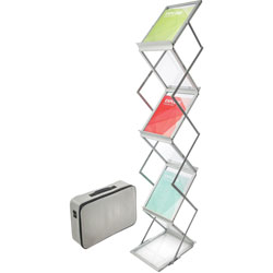 "Deflecto Collapsible Floor Stand, 6 Pockets, 10-7/8"" x 14-1/2"" x 59"" Silver"