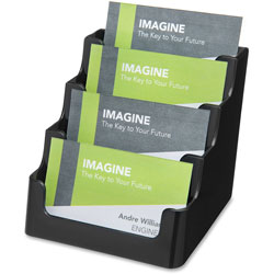 Deflecto Recycled Business Card Holder, Holds 150 2 x 3 1/2 Cards, Four-Pocket, Black