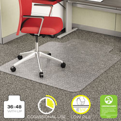 Deflecto EconoMat Vinyl Studded No Bevel Chair Mat for Low Pile Carpet, 36x48, 20x10 Lip