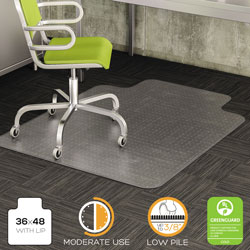 Deflecto DuraMat Vinyl Chair Mat for Low/Medium Industrial Carpet, 36 x 48, 20 x 12 Lip