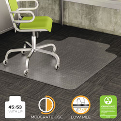 Deflecto DuraMat Vinyl Chair Mat for Low/Medium Industrial Carpet, 45 x 53, 25 x 12 Lip