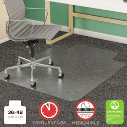 Deflecto SuperMat Studded Beveled Mat for Medium Pile Carpet, 36w x 48h, Clear
