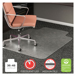 "Deflecto RollaMat Vinyl Chair Mat for Med Pile Carpet, Beveled Edge, 36x48"", Clear"