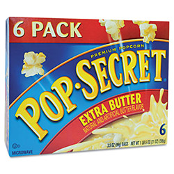 Diamond Microwave Popcorn, Extra Butter, 3.5 oz Bags, 6 Bags/Box