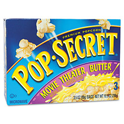 Diamond Microwave Popcorn, Movie Theater Butter, 3.5 oz Bags, 3 Bags/Box
