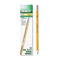 Dixon Oriole Woodcase Pencil, F #2.5, Yellow Barrel, 12/Pack