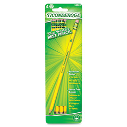 Dixon Ticonderoga Pencil, No.2, 4/CD, Yellow