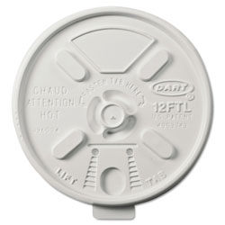 Dart Container 12FTL White Lift 'n Lock Lids for 12 Ounce Foam Cups