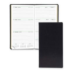 "Daytimer Bound Appointment Book, 2 Pages Per Week, 6 1/4"" x 3 3/8"" Black"