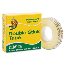 "Manco Permanent Double-Stick Tape, 1/2"" x 900"", 1"" Core, Clear"