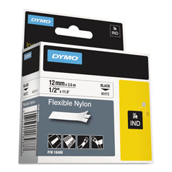 Dymo Industrial Flexible Nylon Labels, 1/2in x 11.5ft, White
