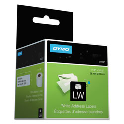 Dymo Self Stick Address Labels for Label Printers, 3 1/2 x 1 1/8, White, 260/Box