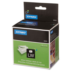 Dymo 2-UP LabelWriter Address Labels, 3-1/2 x 1-1/8, White, 700 Labels/Roll, 1 Roll/Box