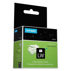 Dymo Self Stick Address Labels for Label Printers, Clear, 3 1/2 x 1 1/8, 130/Box