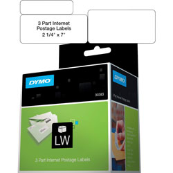"Dymo Shipping/PC Postage Label, 3 Part, 7""x2 1/4"", White"