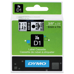 "Dymo D1 Tape Cartridge for Electronic Label Makers, Black on Clear, 3/8"" w x 23 ft."