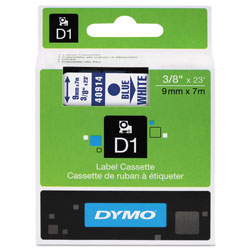 "Dymo D1 Tape Cartridge for Electronic Label Makers, Blue on White, 3/8"" w x 23 ft."