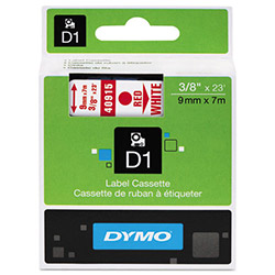 "Dymo D1 Tape Cartridge for Electronic Label Makers, Red on White, 3/8"" w x 23 ft."