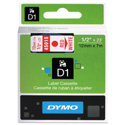 "Dymo D1 Tape Cartridge for Electronic Label Makers, Red on White, 1/2"" w x 23 ft."