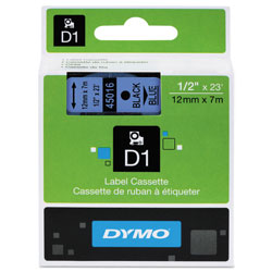 "Dymo D1 Tape Cartridge for Electronic Label Makers, Black on Blue, 1/2"" w x 23 ft."