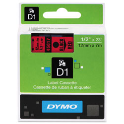 "Dymo D1 Tape Cartridge for Electronic Label Makers, Black on Red, 1/2"" w x 23 ft."
