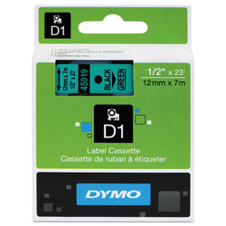 "Dymo D1 Tape Cartridge for Electronic Label Makers, Black on Green, 1/2"" w x 23 ft."
