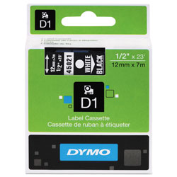 "Dymo D1 Tape Cartridge for Electronic Label Makers, White on Black, 1/2"" w x 23 ft."