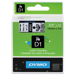 "Dymo D1 Tape Cartridge for Electronic Label Makers, Black on Clear, 3/4"" w x 23 ft."