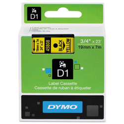 "Dymo D1 Tape Cartridge for Electronic Label Makers, Black on Yellow, 3/4"" w x 23 ft."