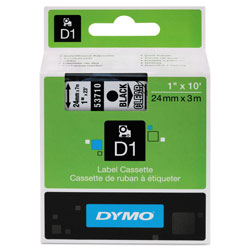 "Dymo D1 Tape Cartridge for LabelMANAGERs 300/400/PC, Black on Clear, 1"" w x 23 ft."