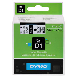 "Dymo D1 Tape Cartridge for LabelMANAGERs 300/400/PC, Black on White, 1"" w x 23 ft."