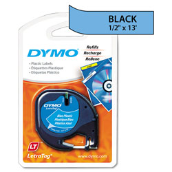 "Dymo Tape Cartridge, 1/2"" x 13 Feet, Ultra Blue Plastic Tape"