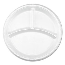 "Lagasse Disposable 10"" Plastic Plates, White, Case of 500"