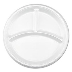 "Lagasse Disposable 9"" Plastic Plates, White, Case of 500"