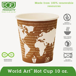 Eco-Products 10 Oz Hot Paper Cups, World Design, Pack of 50