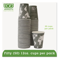 Eco-Products 12 Oz Hot Paper Cups, World Design, Pack of 50