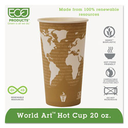 Eco-Products World Art Renewable Resource Compostable Hot Drink Cups, 20oz, Tan, 1000/Carton