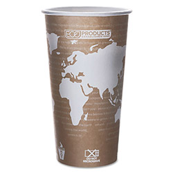 Eco-Products 20 Oz Hot Paper Cups, World Design, Pack of 50