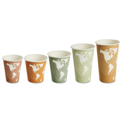 Eco-Products 8 Oz Hot Paper Cups, World Design, Pack of 50