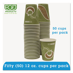Eco-Products 12 Oz Hot Paper Cups, Green, Pack of 50