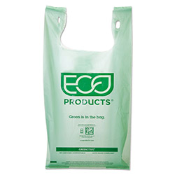 Eco-Products Plastic Grocery Bags, 7 gal, Green, 500/Carton