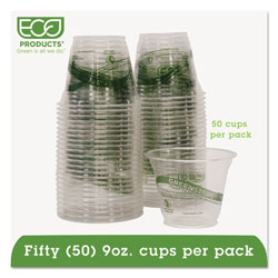 Eco-Products 9 Oz Cold Plastic Cups, Clear, Pack of 50