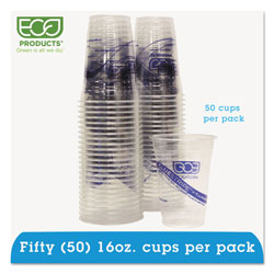 Eco-Products 16 Oz Cold Plastic Cups, Clear, Pack of 50