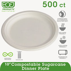 "Eco-Products Disposable 10"" Paper Plates, White, Case of 500 Plates"
