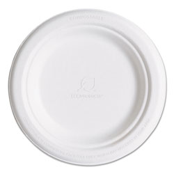 "Eco-Products Disposable 6"" Paper Plates, White, Case of 1,000"